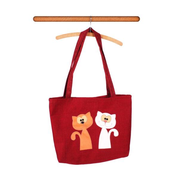 Česká ručně šitá hračka – Taška přes rameno s kočkami